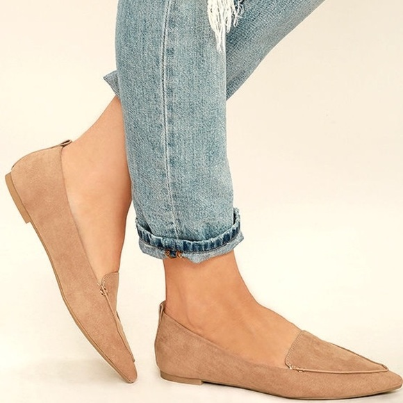 78058119635 Emmy Camel Vegan Suede Pointed Loafers from Lulu s